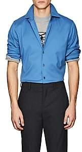 Prada Men's Cotton-Blend Slim Shirt - Blue