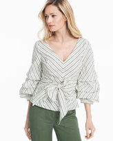 White House Black Market Striped Dramatic-Sleeve Sashed Poplin Blouse