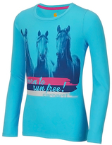 Carhartt Blue Atoll 'Born to Run Free' Tee - Girls