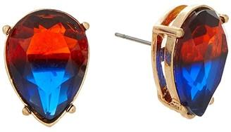 Betsey Johnson Teardrop Stud Earrings (Orange/Blue) Earring