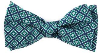 Tie Bar Silk Squarework Navy Bow Tie