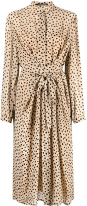 Luisa Cerano Polka Dot Draped Shirt Dress