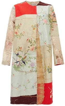 By Walid Tanita Embroidered Antique-silk Coat - Ivory Multi