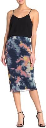 Love, Fire Tie-Dye Mesh Pull-On Midi Skirt