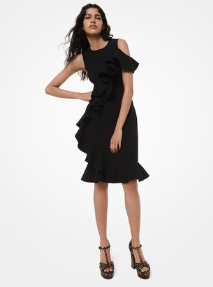 Michael Kors Stretch-Boucle Ruffle Dress