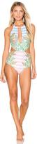 Mara Hoffman Wheatfield Slit Front One Piece Swimsuit
