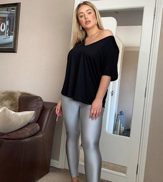 Fashionkilla Plus disco legging in silver