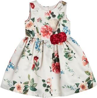 Pippa & Julie Kids' Sleeveless Floral Print Satin Dress