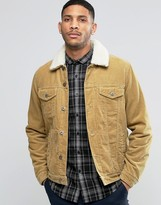 Asos Cord Western Jacket With Fleece Collar In Camel