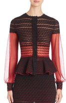 Alexander McQueen Silk Blend Criss Cross Degrade Stich Peplum Top