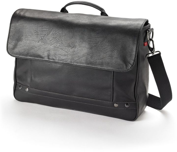 Relic solid faux-leather laptop messenger bag