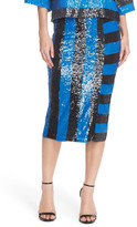Tracy Reese Stripe Sequin Pencil Skirt