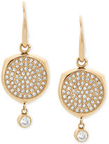 Michael Kors Gold-Tone Stainless Steel Crystal Disc Drop Earrings
