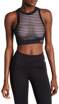 Bebe Shadow Stripe Embellished Crop Sports Bra