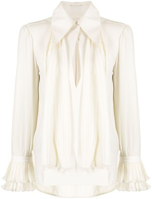 KHAITE Nia pleated panel silk shirt