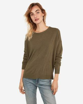 Express Step Hem Crew Neck Tunic Sweater