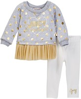 Juicy Couture Foil Dot Mesh Bottom Tunic & Legging Set (Baby Girls)