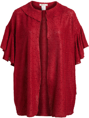 Seven Karat Women's Cardigans red - Red Ruffle-Sleeve Open Cardigan - Plus