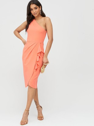 boohoo One Shoulder Ruffle Detail Midi Dress - Coral
