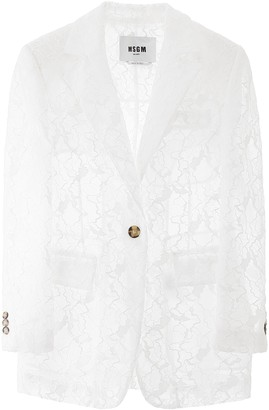 MSGM Single-Breasted Lace Blazer