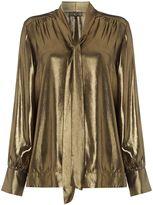 Biba Metallic pussybow blouse