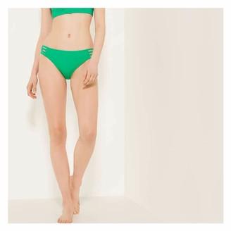 Joe Fresh Women's Strappy Side Bikini Bottoms, Teal (Size S)