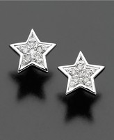 Macy's 14k White Gold Earrings, Diamond Accent Star Stud Earrings