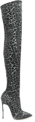 Casadei Animal Print Thigh-High Boots