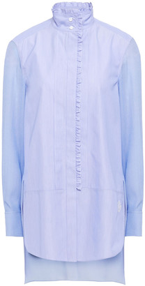 Chloé Ruffle-trimmed Paneled Cotton-poplin And Crepe Blouse