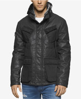 Calvin Klein Jeans Men's Coated Tank Jacket with Faux-Fur Collar