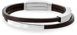 Lord & Taylor Stainless Steel & Leather Sliding Curved Bar Adjustable Bracelet
