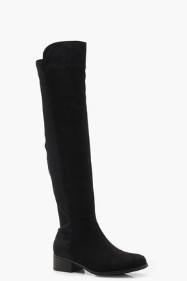 boohoo Elastic Back Flat Over Knee Boots