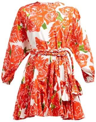 Rhode Resort Ella Rose-print Cotton Mini Dress - Womens - Red White