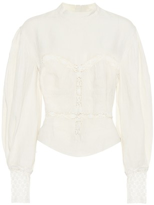 Isabel Marant Lyneth lace-trimmed cotton blouse
