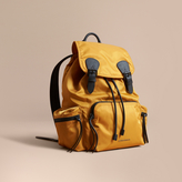 Burberry The Large Rucksack In Technical Nylon And Leather, Yellow