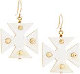 Ashley Pittman Arba Studded Light Horn Maltese Cross Drop Earrings