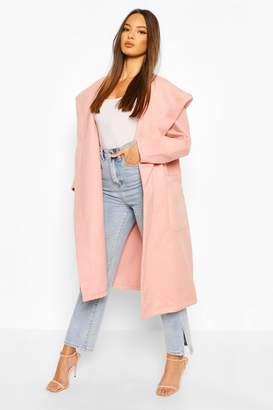 boohoo Extreme Oversized Hooded Wool Look Coat