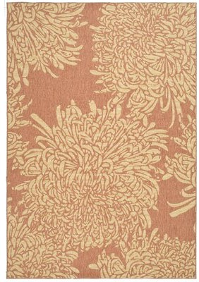 "Martha Stewart Chrysanthemum Beige/Terracotta Area Rug Rug Size: Rectangle 5'3"" x 7'7"""