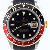 Rolex 16713 2tone 18k Yellow Gold/Stainless Steel GMT-Master II Black & Red Coke Watch