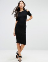 Asos Cold Shoulder Bodycon Dress In Rib