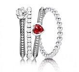 Pandora Ruby Red Ring Stack