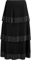 Michael Kors Eyelet-embellished pleated crepe midi skirt