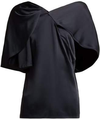 Peter Pilotto Cape-sleeved Asymmetric Satin Top - Womens - Navy