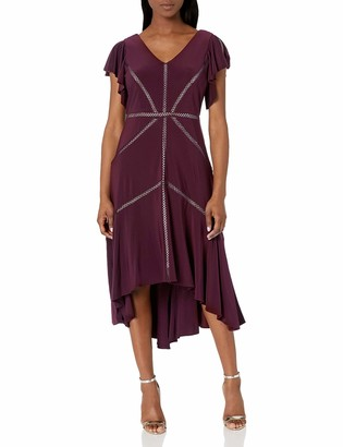 Taylor Dresses Women's Petite Ruffle Sleeve Solid High Low Hem Dress