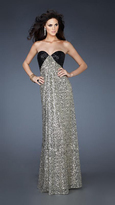 La Femme Sequined Long Strapless Gown 18491