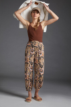 Anthropologie Odette Printed Joggers By in Yellow Size XS