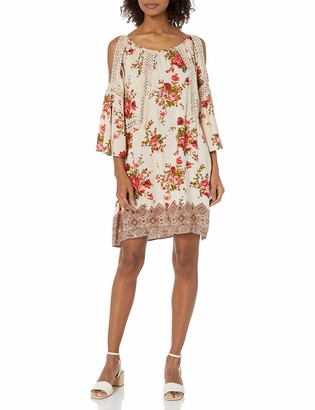 Angie Women's Floral Printed Crochet Inset Dress with Cold Shoulders
