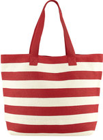 San Diego Hat Company Wide Striped Straw Tote Bag, Red