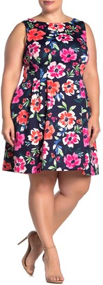 Vince Camuto Floral Fit & Flare Sleeveless Dress (Plus Size)