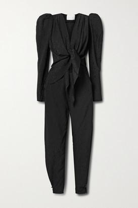 Johanna Ortiz Net Sustain Splendid Isolation Tie-front Cutout Floral-jacquard Jumpsuit - Black